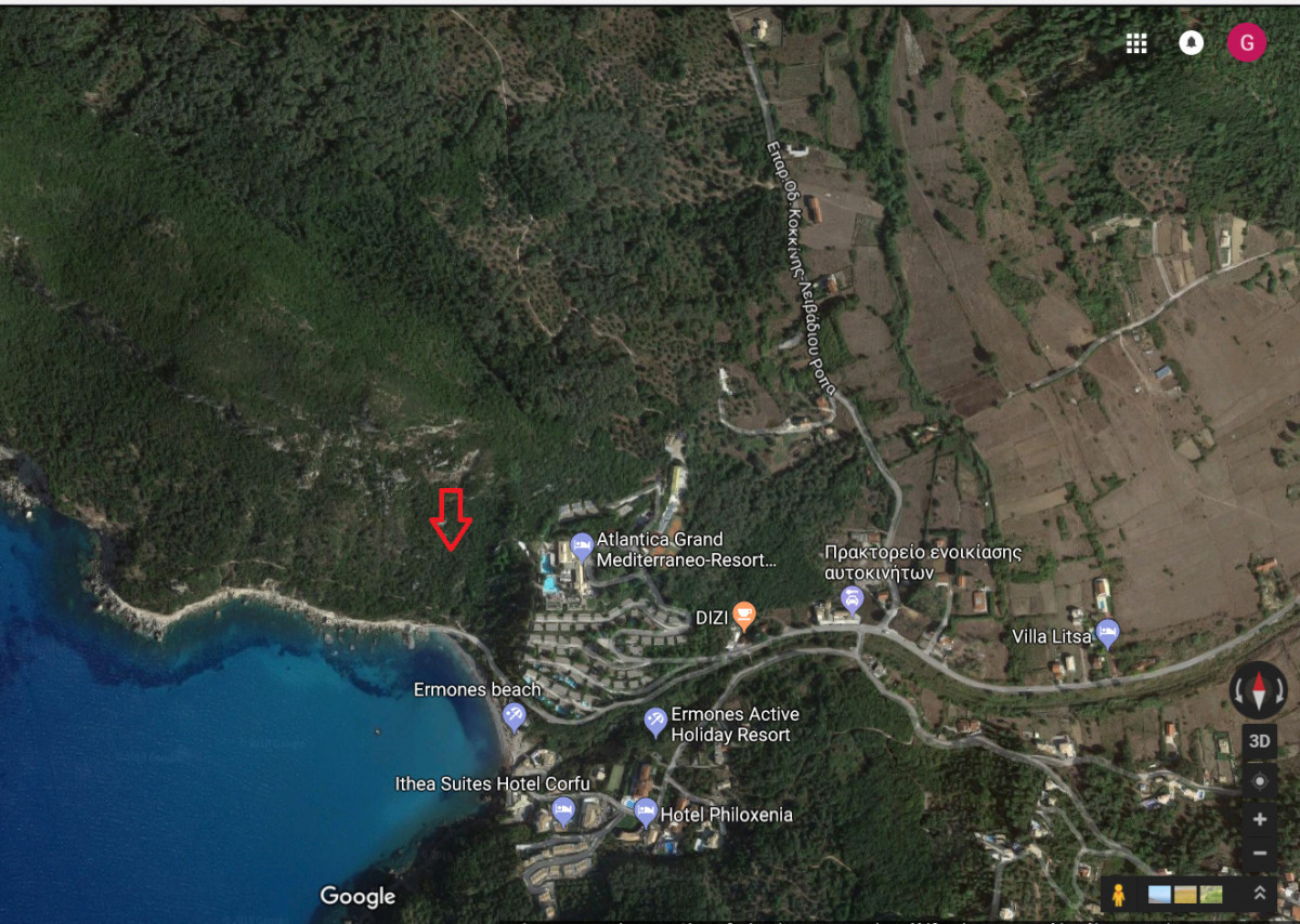 Plot for sale in Ermones, west Corfu